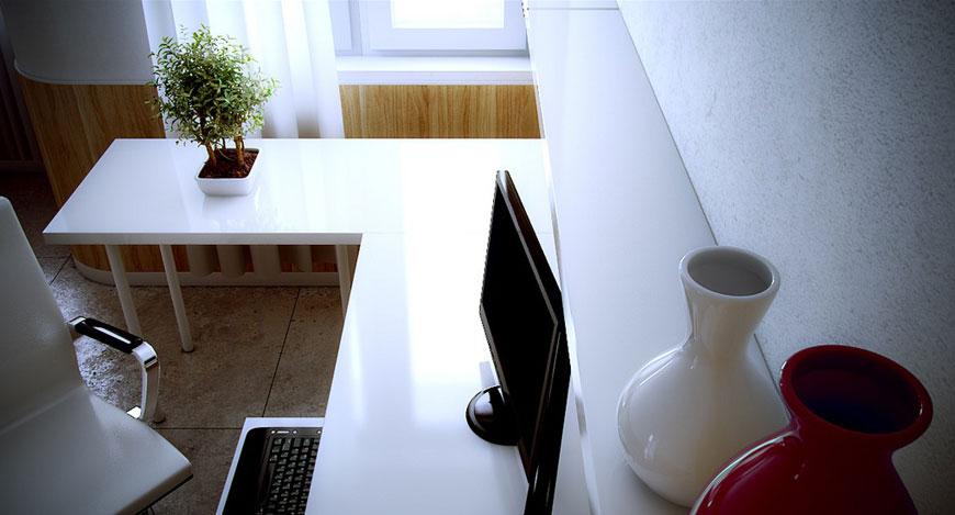 White Red Modern Work Space