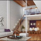 Awesome Loft Living Brickwall Design Ideas