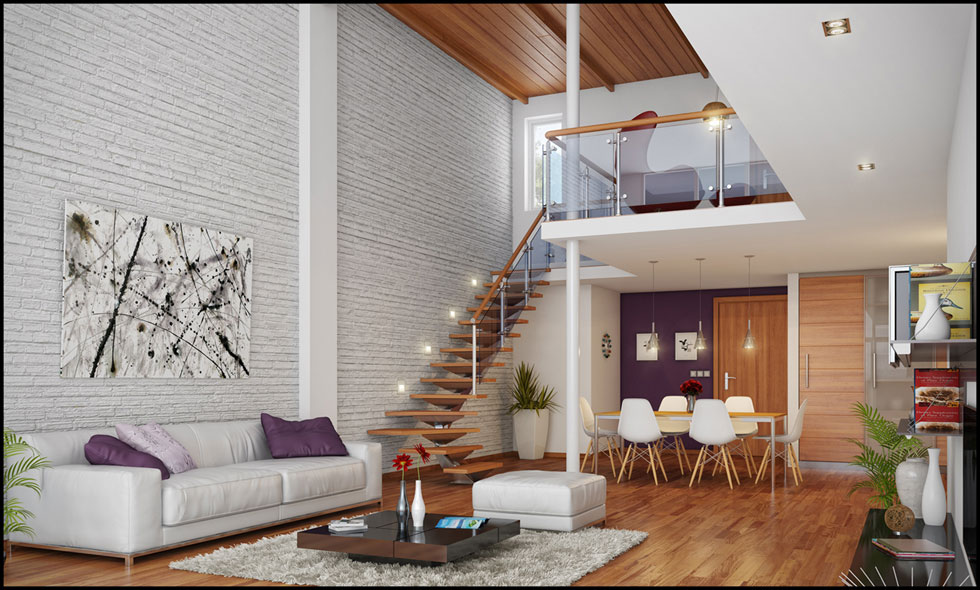 Awesome Loft Living Brickwall Design Ideas