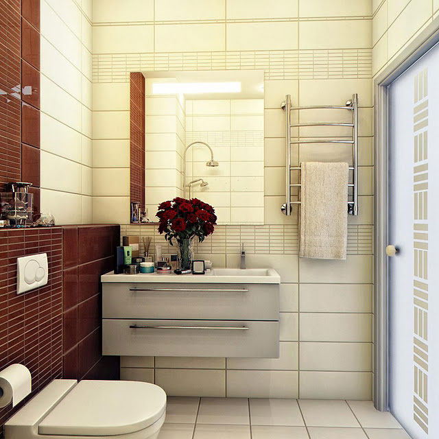 Bathroom colour blocking dark brown and beige design interior design ideas Beige brown bathroom design
