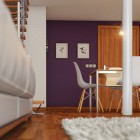 Beautiful Dining Area with Wall Purple Color