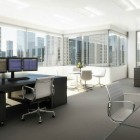 Black and White Stock Broker Workspace