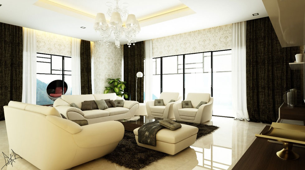 Carving wallpapered living room with beige sofas for Beige wallpaper living room