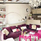 Catchy Living Room with Chandelier and White Brickwall