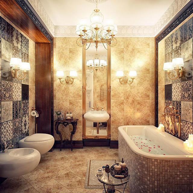 Chandeliers in a Luxurious Bathroom Ideas