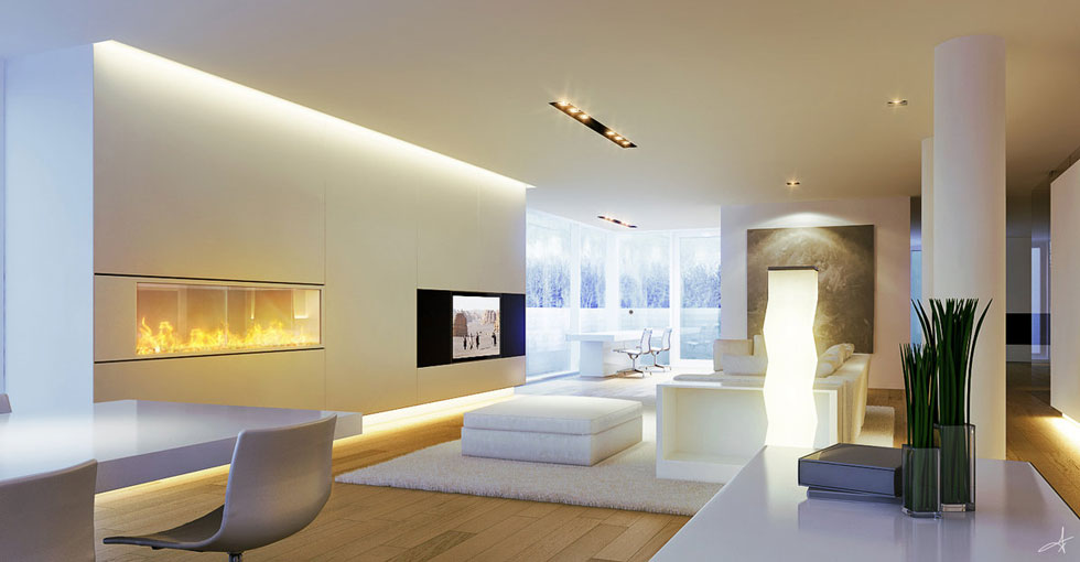 Cool White Living Room with Amazing Lighting