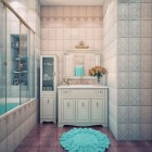 Cream and Blue Wall Color Luxury Bathroom