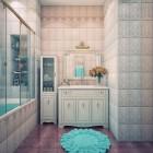 Cream and Blue Wall Color Luxury Bathroom