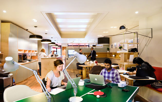 Creative working place with ping pong table interior Coworking space design ideas