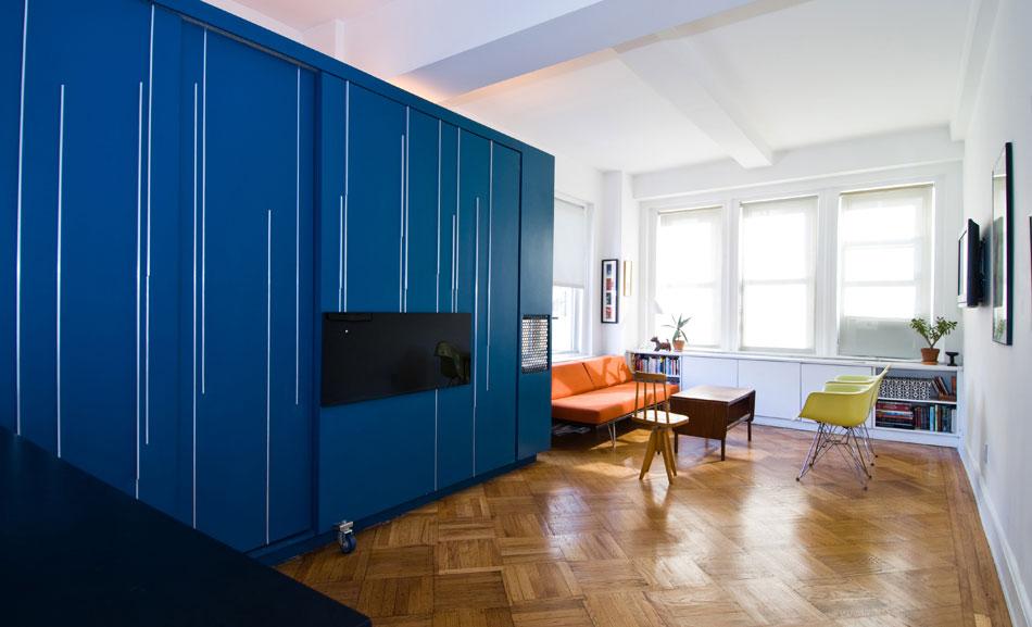 Ergonomic Furniture Blue Color Ideas in Small Apartment
