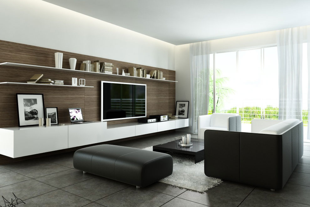 Fancy modern style living room with black and white for Modern living room black and white