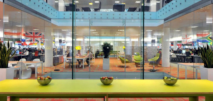 Green Color Table Design in Modern Office