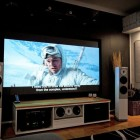 Large LCD Uber Cool Entertainment System with White Color Sound Out
