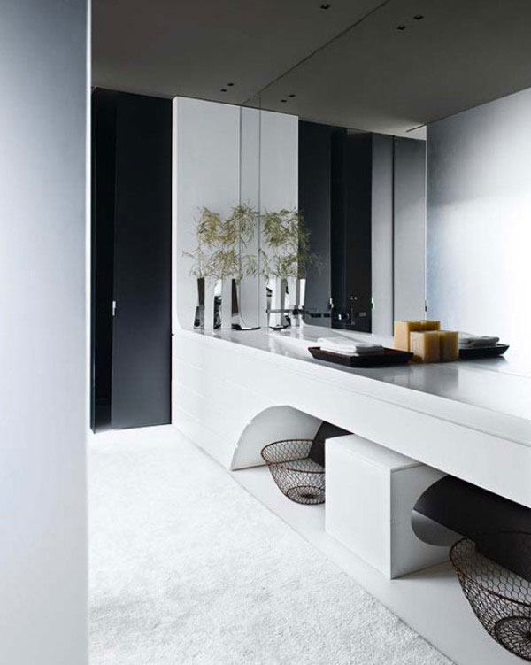 Large Mirror Design in Bathroom with Modern Sink
