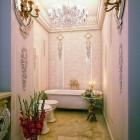 Luxury Pink Bathroom Detail with Chandelier