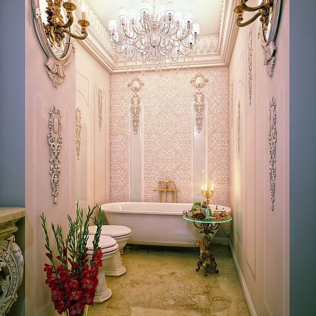 Luxury pink bathroom detail with chandelier interior for Bathroom designs pink