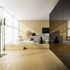 Minimalist Loft Living Room Natural Lighting and Wooden Wall