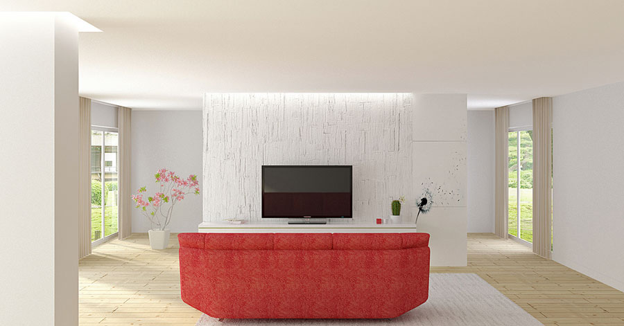 Minimalist White TV Room with Red Sofas Ideas