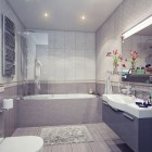 Modern Bathroom with White and Grey Sink