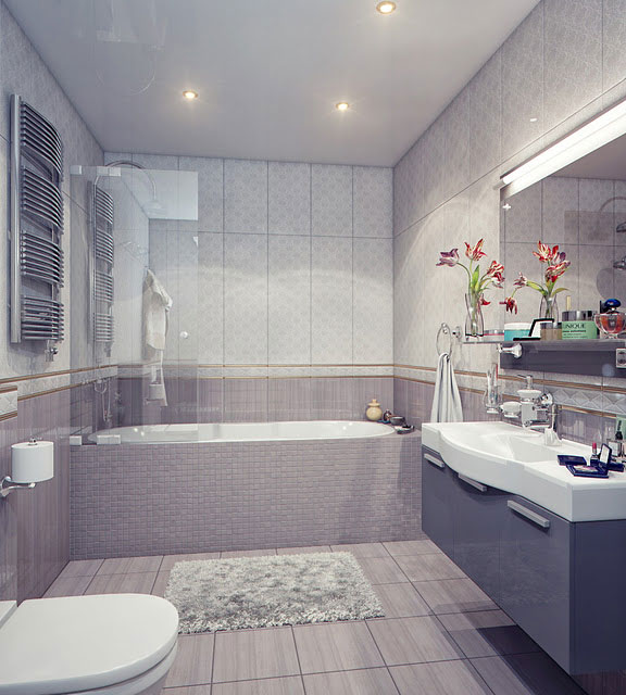 Modern bathroom with white and grey sink interior design for White and gray bathroom ideas