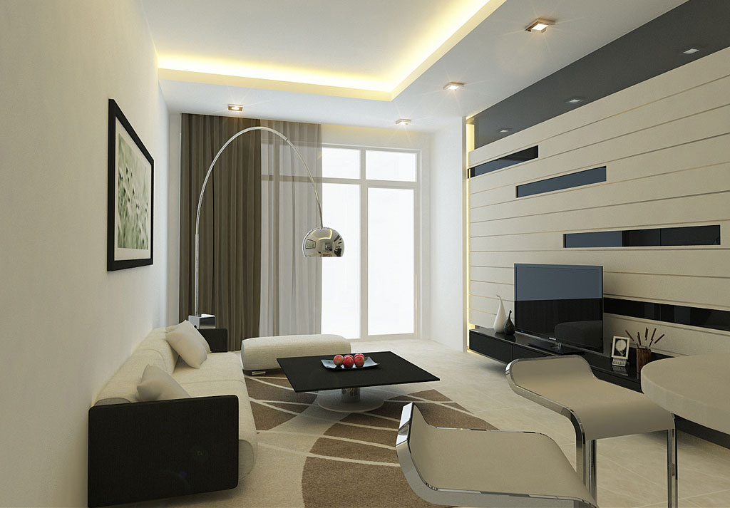 Modern living room wall with striped decor interior for Pictures of modern living rooms decorated