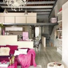 Modern Living Room with Pink Element and Red Sofas