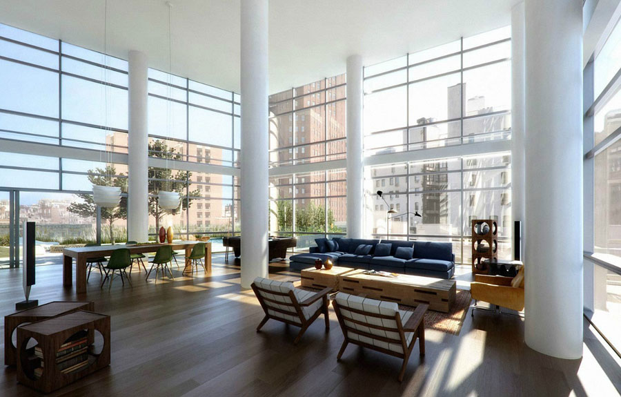 Modern Loft with Glass Wall Ideas