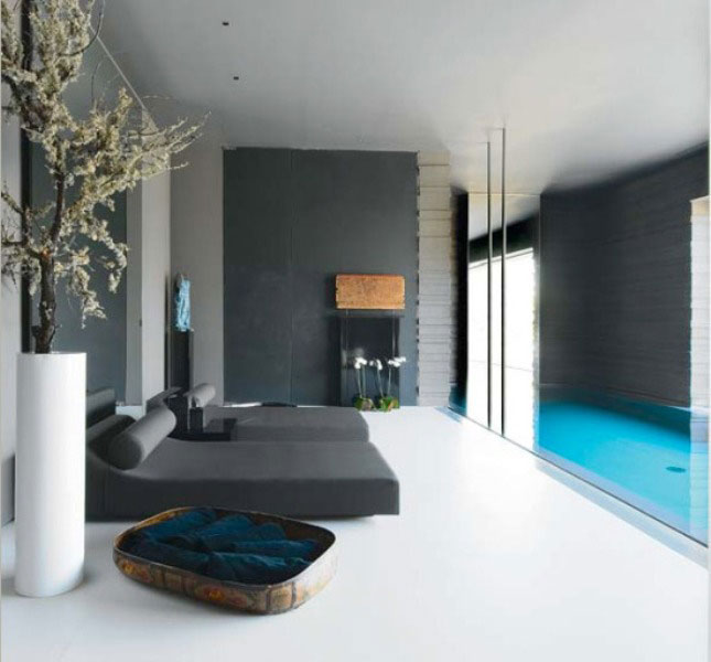 Modern Lounge with Grey Sofas and Indoor Pool Ideas