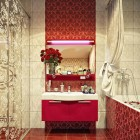 Modern Sink on a Vintage Red and Cream Color