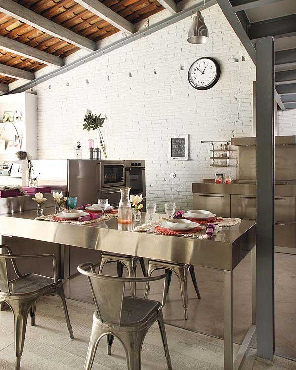 Modern Stainless Steel Kitchen Cabinets With Brickwall Decor