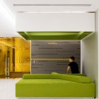 Office Relaxation Space with Comfort Green Couch