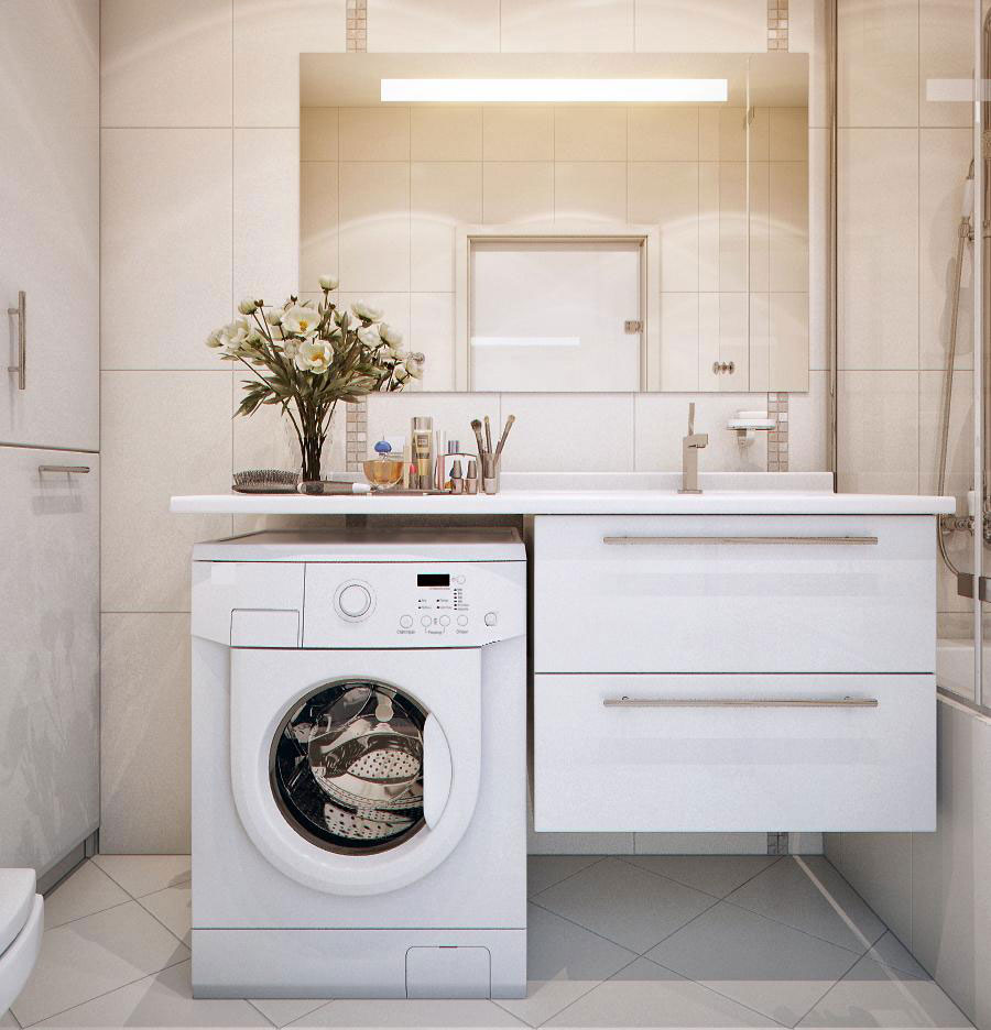 Practical white sink with washing machine interior for Washing machine in bathroom ideas