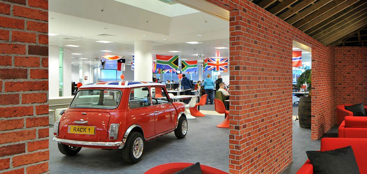 Red Brickwall Design in Office
