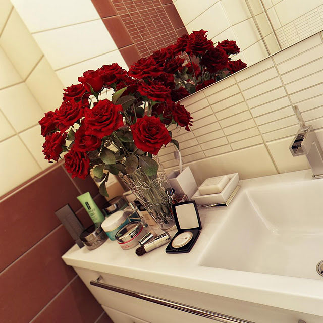 Red Roses on the Bathroom Vanity