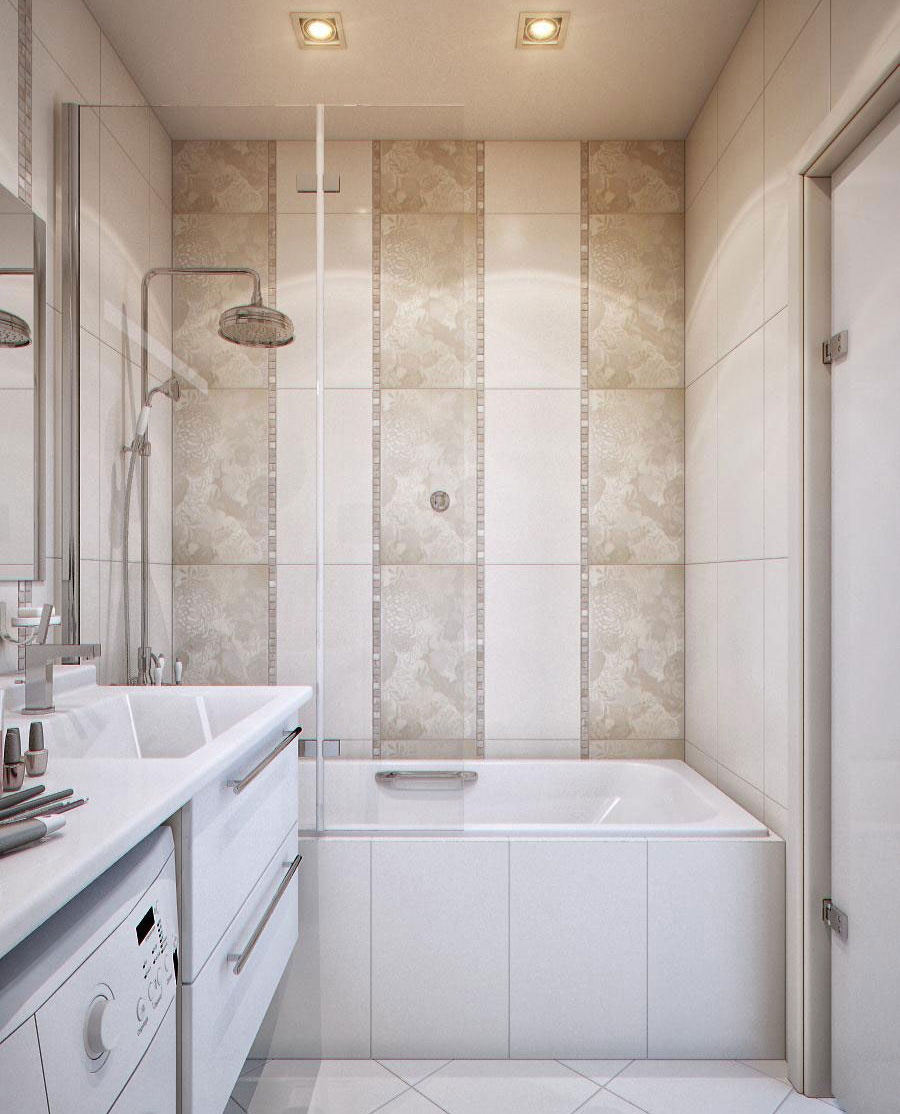 small bathroom with bathtub on a decorative tile jaw droppingly