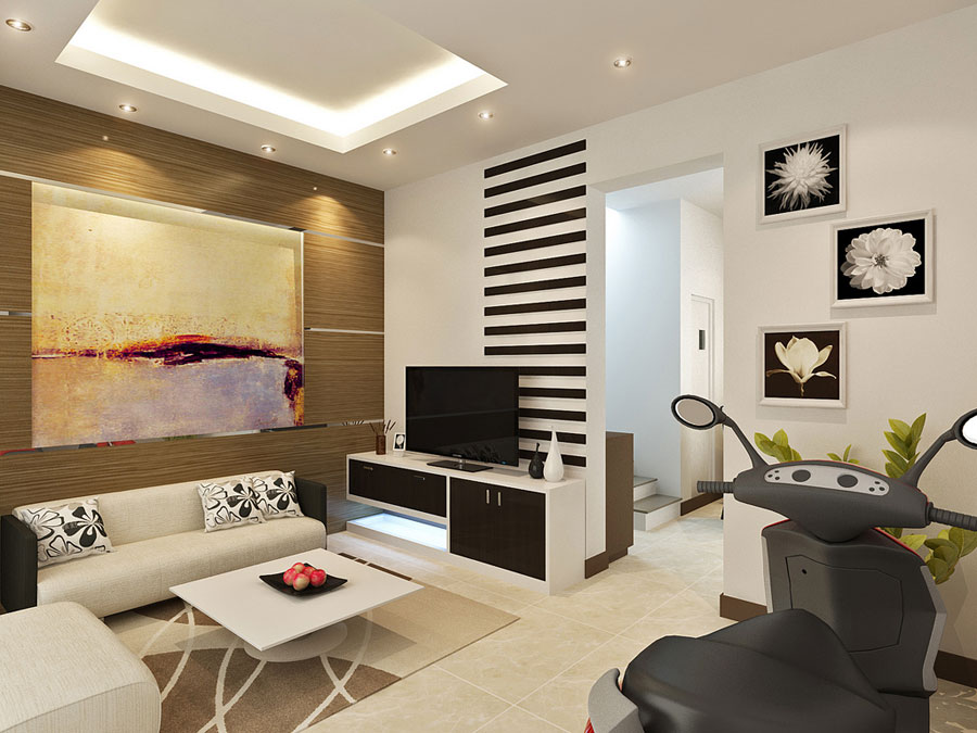 Small Space Living with LCD TV and White Color
