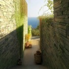 Stone Retaining Walls Narrow Passage Scenic View