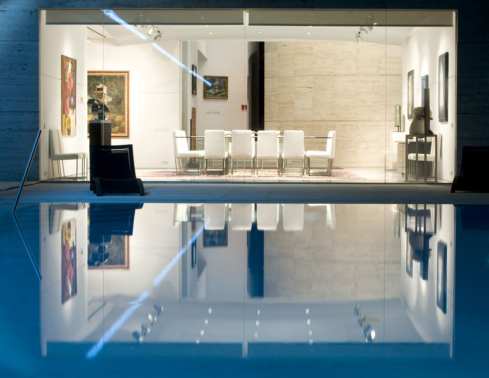The Dining Area at Night with Pool Viewing