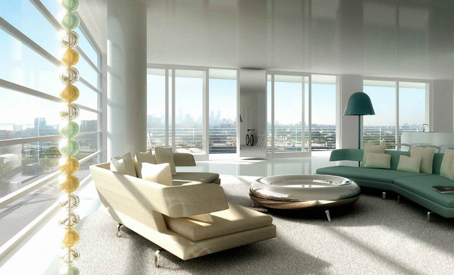 Ultra modern luxury living room with chrome table for Ultra modern living room ideas