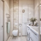 Vertical Small Bathroom Design with Wash Machine Inspirations