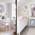 White Bedroom with slooping Ceiling and Work Desk