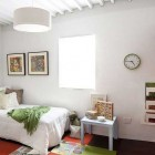 White Kids Bedrooom with Modern White Round Chandelier