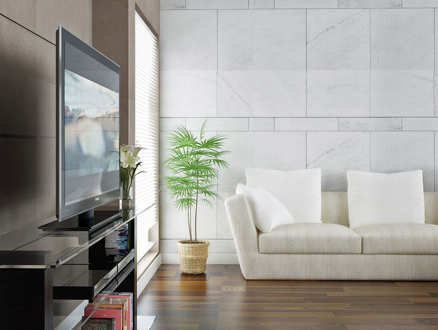 White Couch and TV Living Room with Wooden Floor