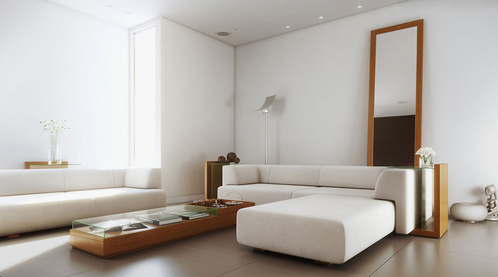 White simple living room with wood furniture inspirations for Living room interior simple
