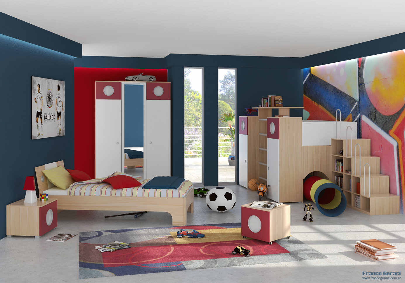 A spacious kids bedroom design ideas interior design ideas for Interior design for bedroom red