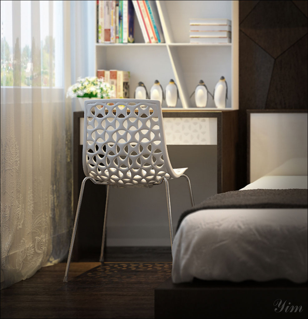 a white crochet chair design in bedroom interior design