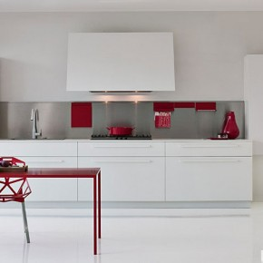 Awesome White With Red Pops of Colour Kitchen