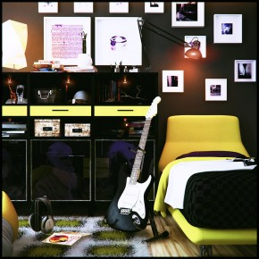 B lack and Yellow Teen Room Design with Guitar