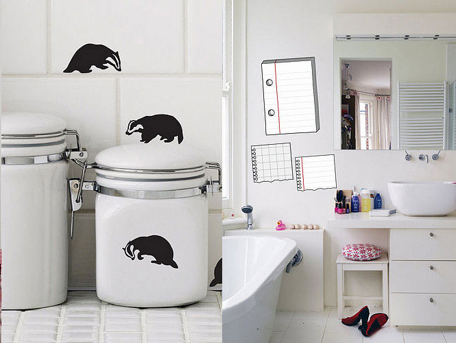 Badger and Notepad Wall Stickers on Bathroom Decor