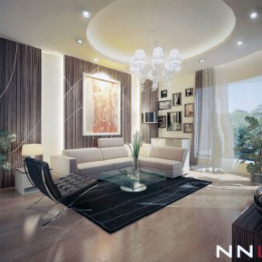 Beautiful Brown Lounge with Black Rugs Decor